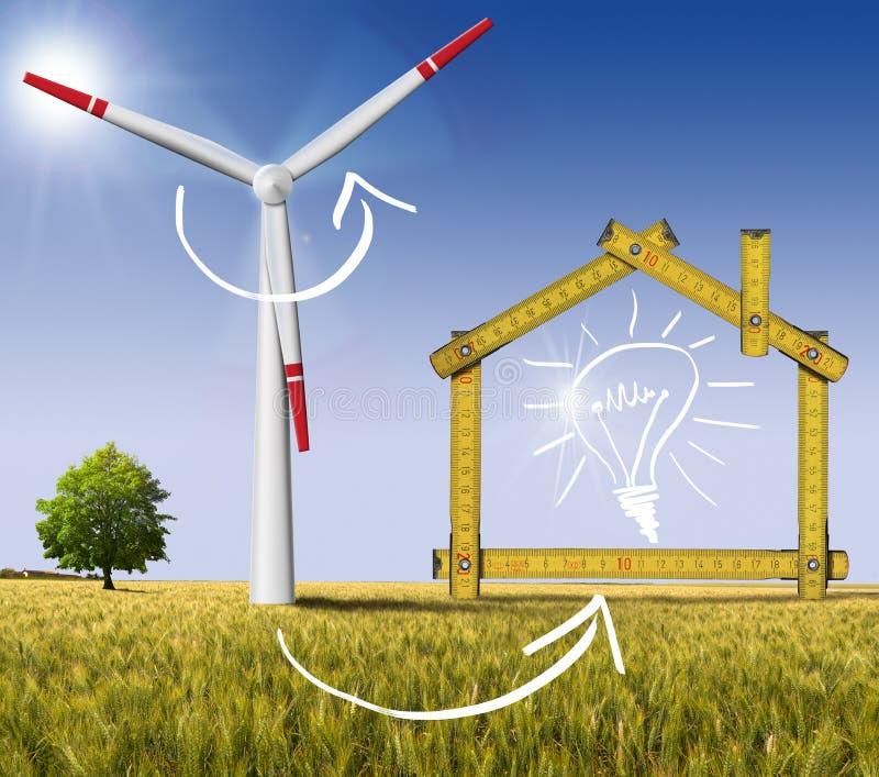 Ökologisches haus- Wind-Energie-Konzept vektor abbildung
