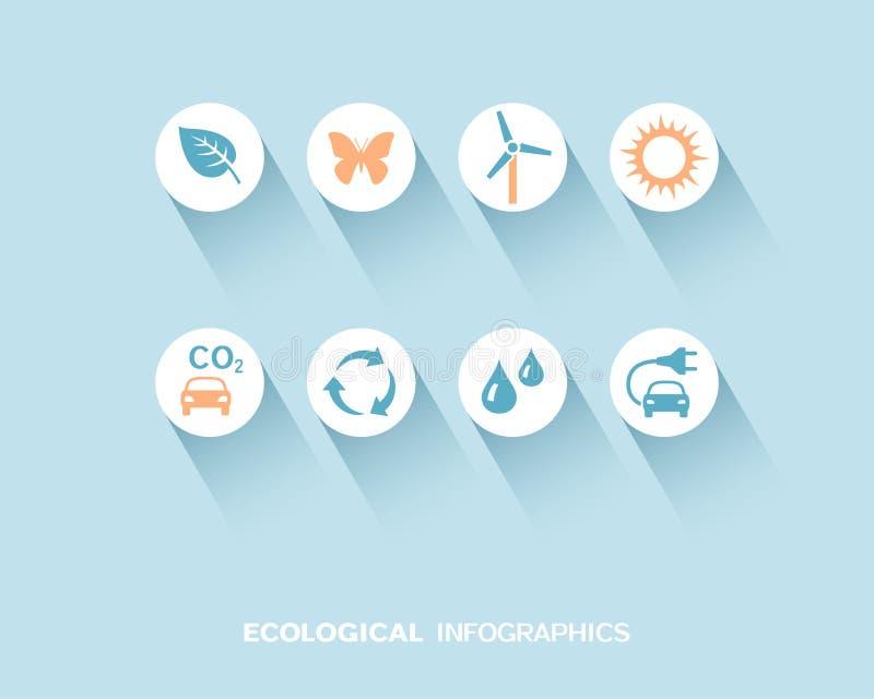 Ökologisches infographic mit den flachen Ikonen eingestellt lizenzfreie abbildung