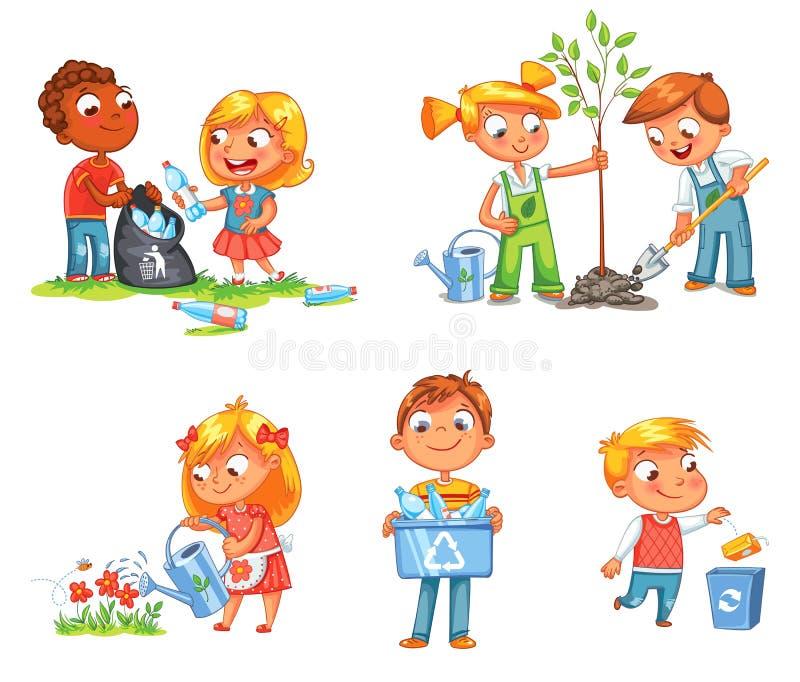 Ökologisches Kinderdesign Lustige Zeichentrickfilm-Figur stock abbildung