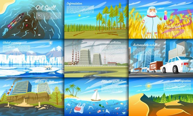 ökologisches Krisenfoto Stellen Sie von der radioaktiven Industrie ein Ökologische Probleme Abholzung, globale Erwärmung, Ölpest stock abbildung