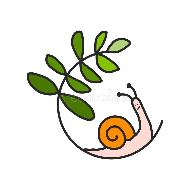 Ökologisches Symbollogo mit Schneckenhaus und Grünpflanze treiben Blätter Ökologie- und Naturkonzept Für die Gartenarbeit Umwelt stock abbildung
