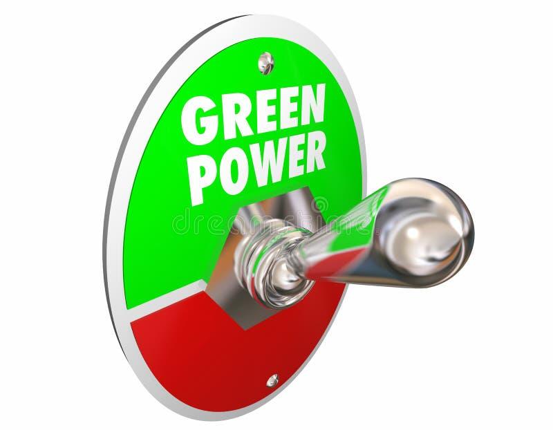 Ökostrom-erneuerbare Energie fasst Lichtschalter ab stock abbildung