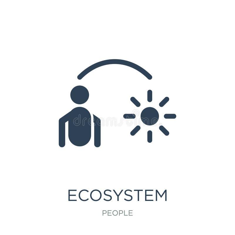 Ökosystemikone in der modischen Entwurfsart Ökosystemikone lokalisiert auf weißem Hintergrund einfache und moderne Ebene der Ökos lizenzfreie abbildung
