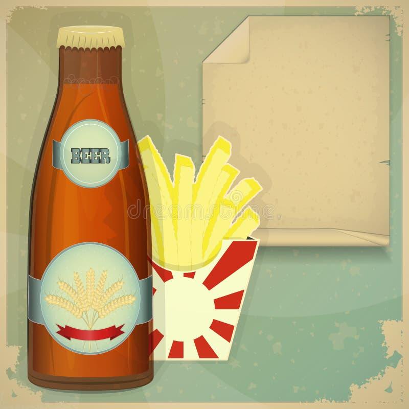 öl chips menyn royaltyfri illustrationer
