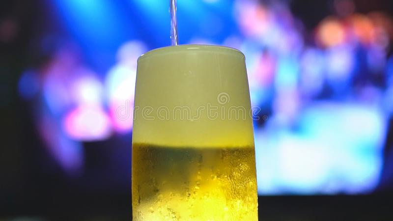 Öl häller uppifrån in i ett halv literexponeringsglas fotografering för bildbyråer