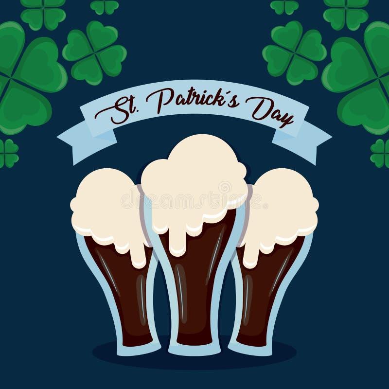 Öl i exponeringsglas av den St Patrick dagen vektor illustrationer