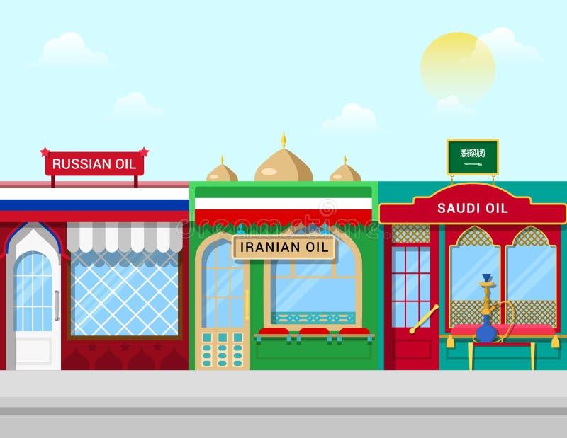 Öl kauft Konzeptvektor-Illustration Russe der Iran lizenzfreie abbildung
