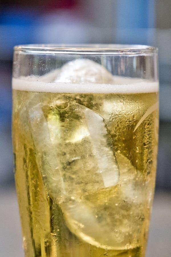 Öl med is i svettigt exponeringsglas arkivbild