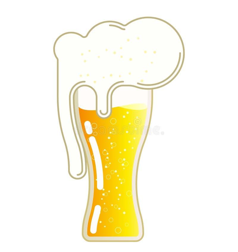Öl med skum i ett exponeringsglas vektor illustrationer