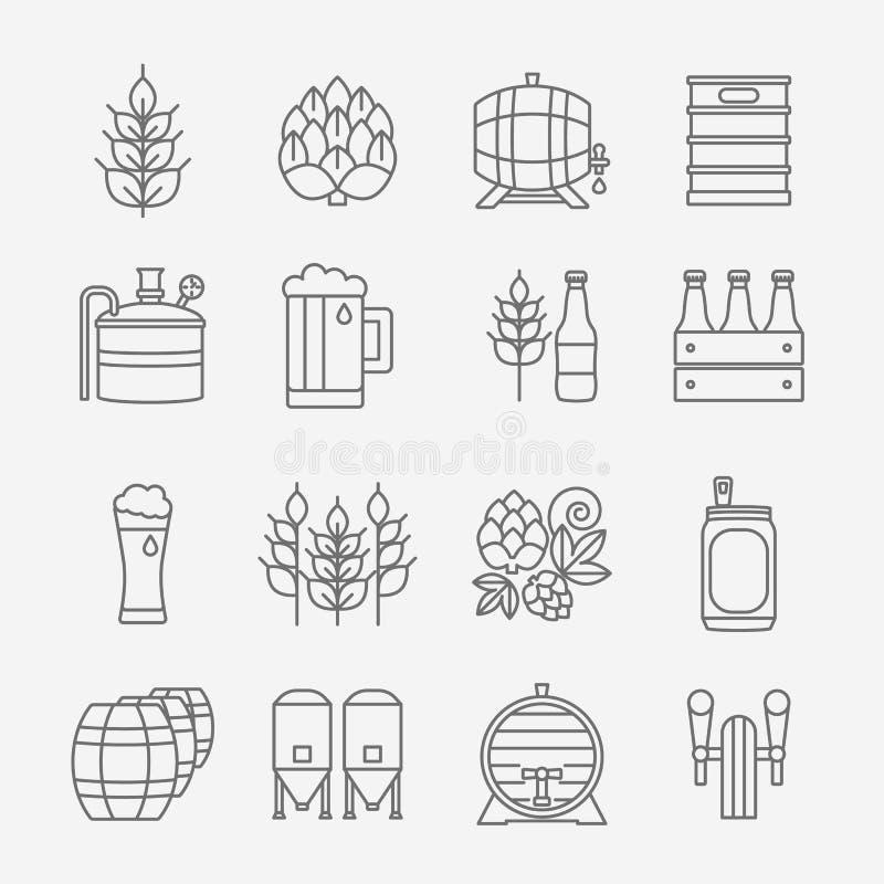 Öl- och bryggerilinje symbolsuppsättning royaltyfri illustrationer