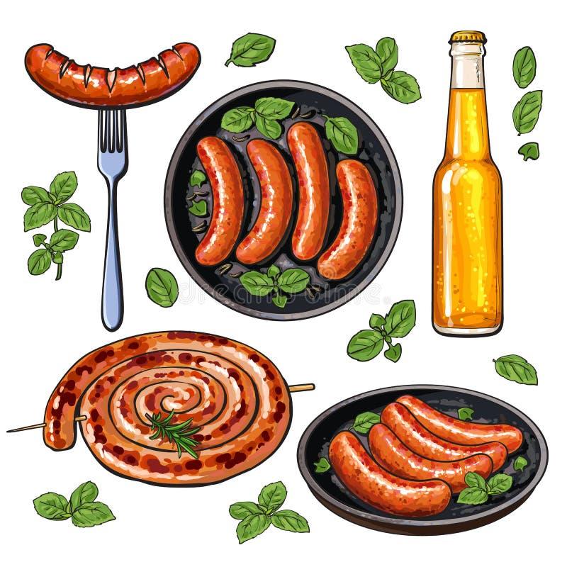 Öl och korvar, stor uppsättning av grillfestpartimat stock illustrationer