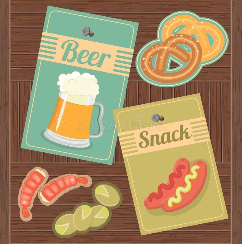 Öl och mellanmål vektor illustrationer