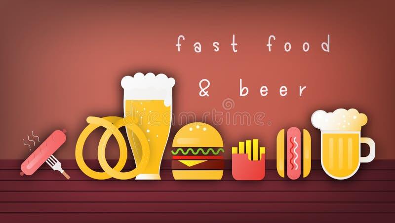 Öl- och snabbmatbaner stock illustrationer