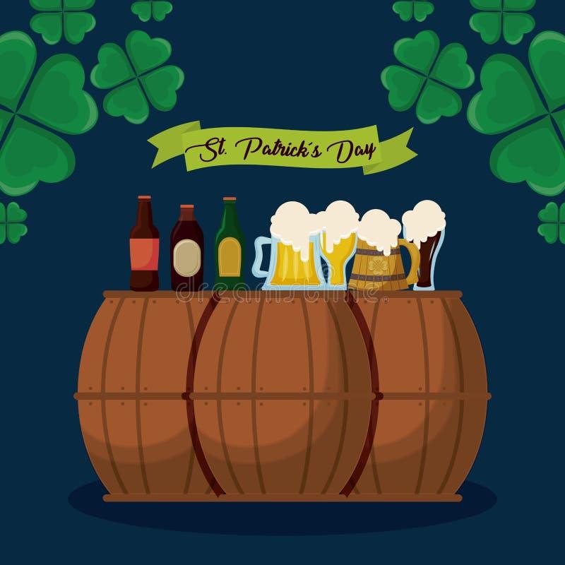 Öl och trummor av den St Patrick dagen royaltyfri illustrationer