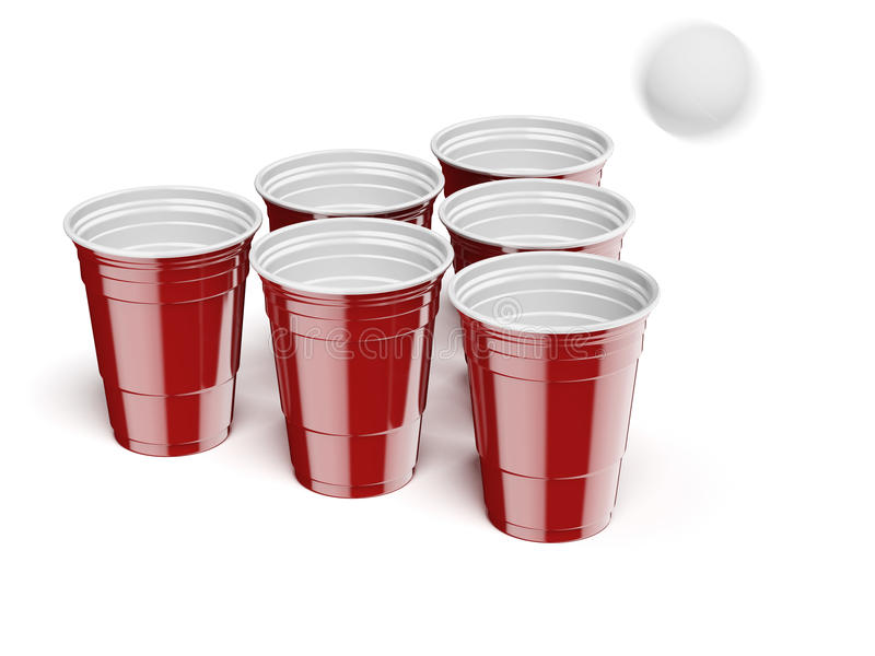 Öl Pong Drinking Game royaltyfri illustrationer