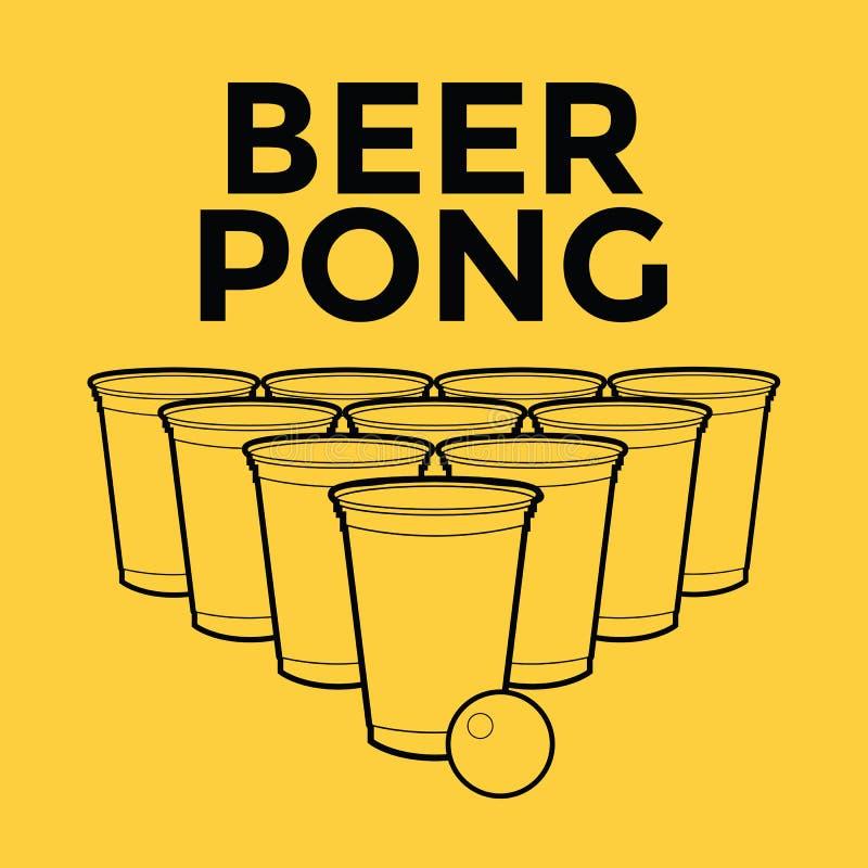 Öl Pong Drinking Game vektor illustrationer
