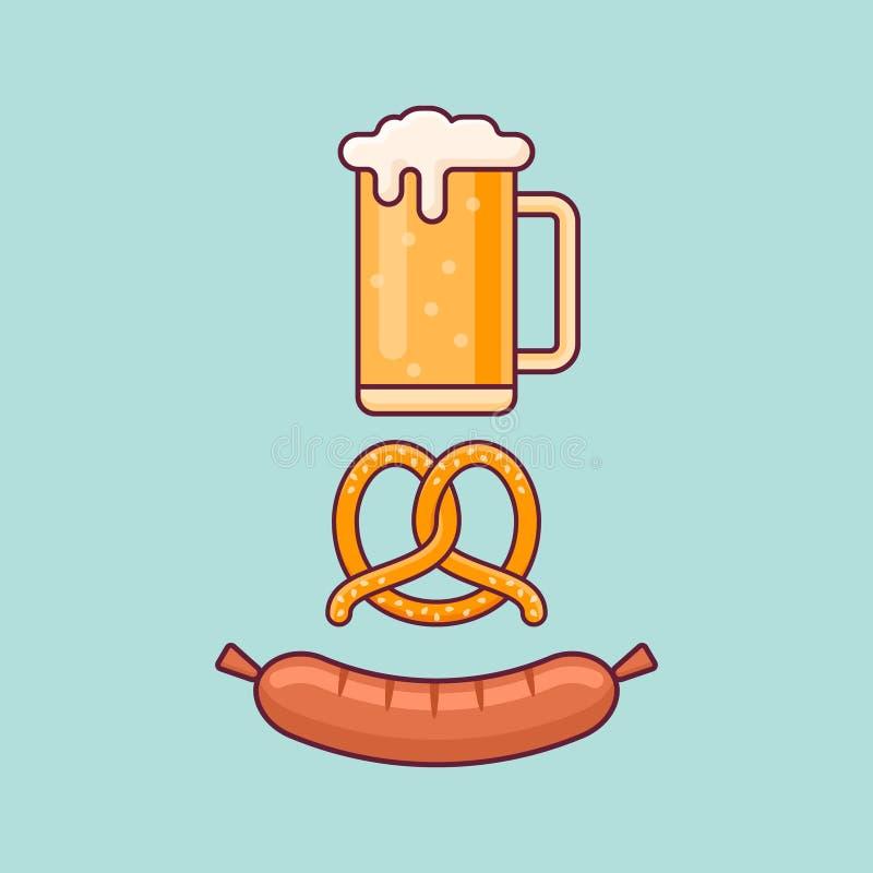 Öl rånar, kringlan och korven Begrepp för Oktoberfest lägenhetstil royaltyfri illustrationer