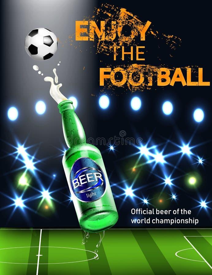 Öl Realistisk affischmall Realistisk illustration 3d Illustration för bakgrund för fotbollvärldsmästerskap Öl stock illustrationer