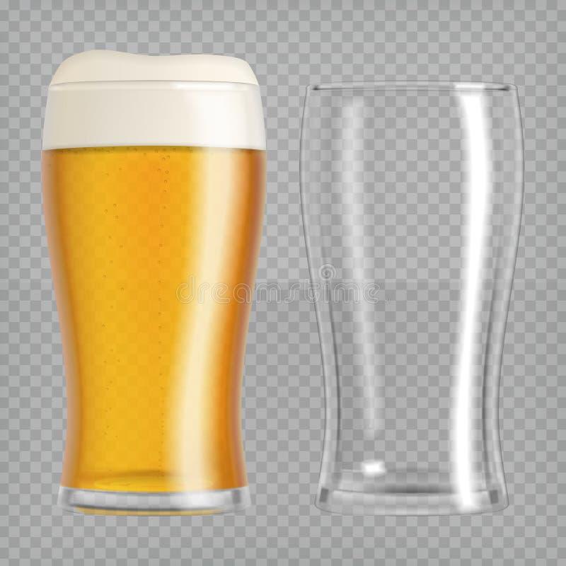 öl skummade upp fulla glass exponeringsglas ett två royaltyfri illustrationer
