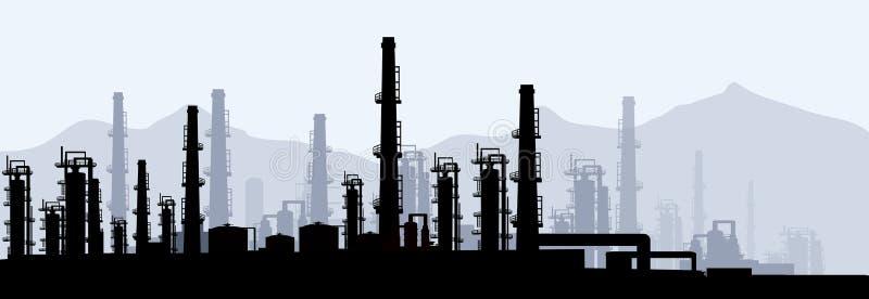 Öl- u. Gasc$raffinerie-vektor lizenzfreie abbildung