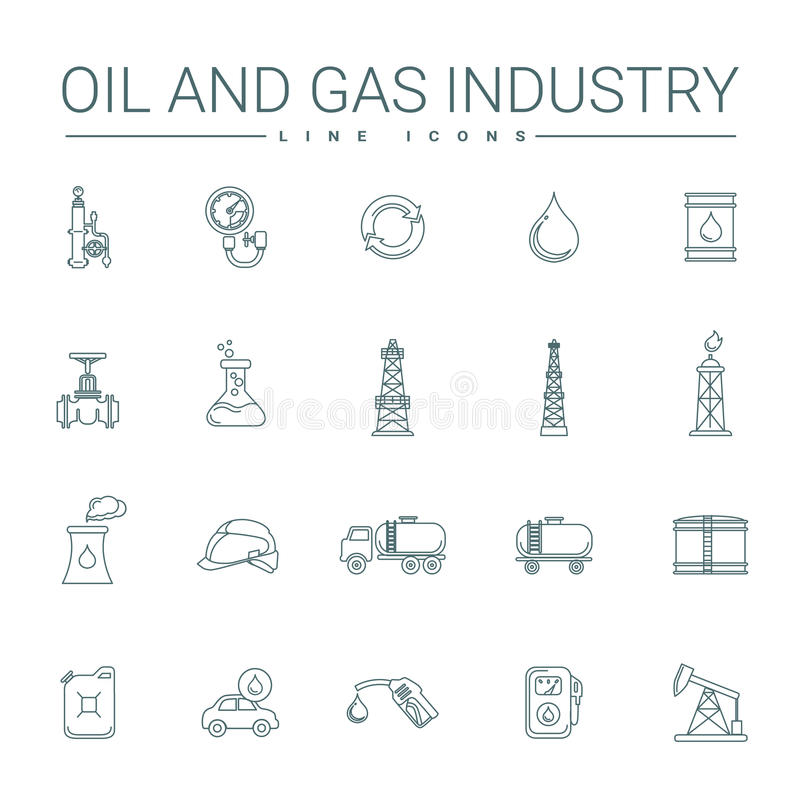 Öl-und Gas-Industrie-Linie Ikonen vektor abbildung