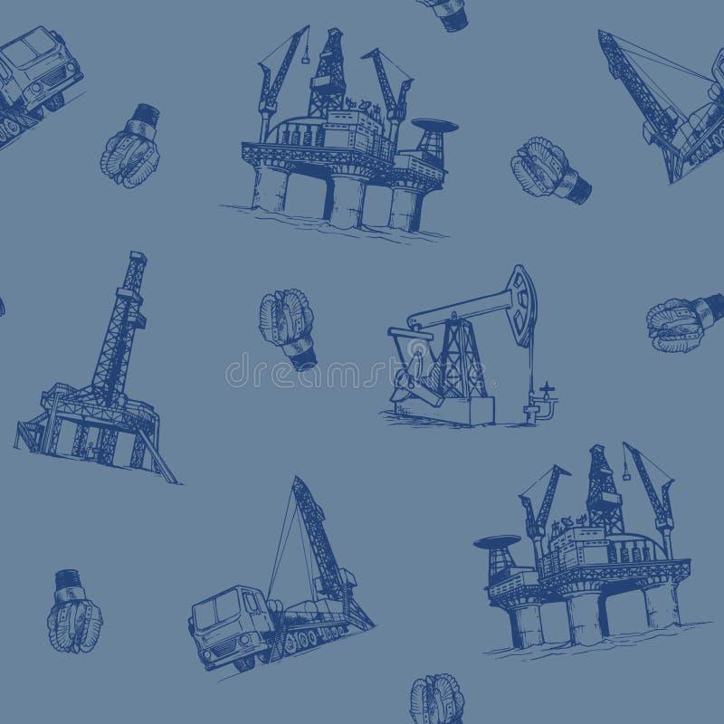 Öl- und Gasindustrie Offshore-Plattform Pumpjack und Bohrgestänge Nahtloses Muster stock abbildung