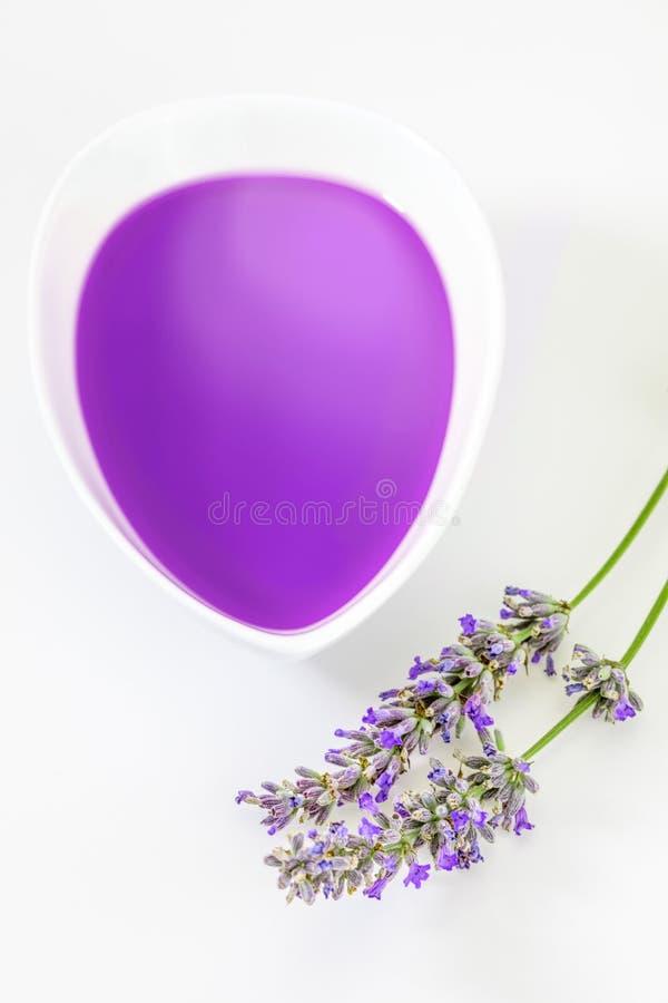 Öl und wesentliche Auszüge von Lavendel Lavandula lizenzfreies stockfoto