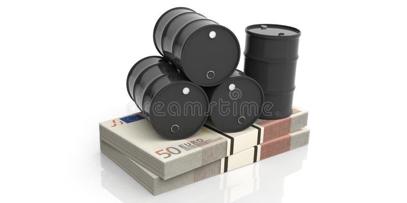 Ölbarrel auf fünfzig Eurobanknoten Abbildung 3D vektor abbildung