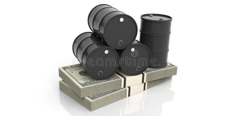 Ölbarrel auf fünfzig Eurobanknoten Abbildung 3D lizenzfreie abbildung