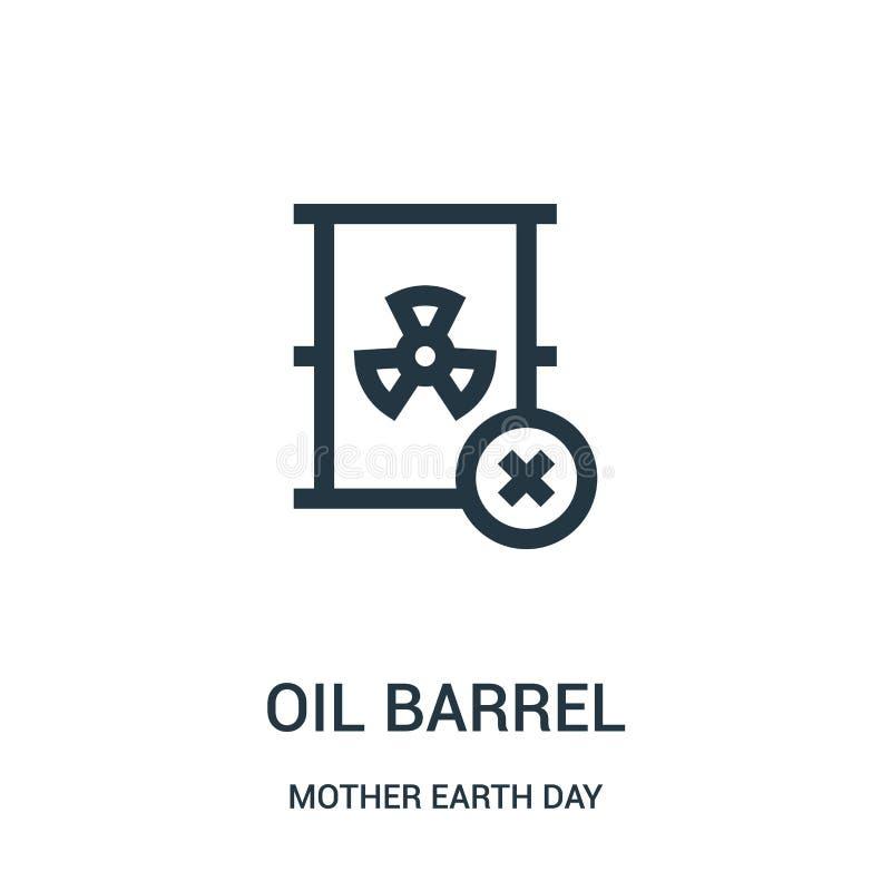 Ölbarrel-Ikonenvektor von der Mutter Erden-Tagessammlung Dünne Linie Ölbarrel-Entwurfsikonen-Vektorillustration stock abbildung