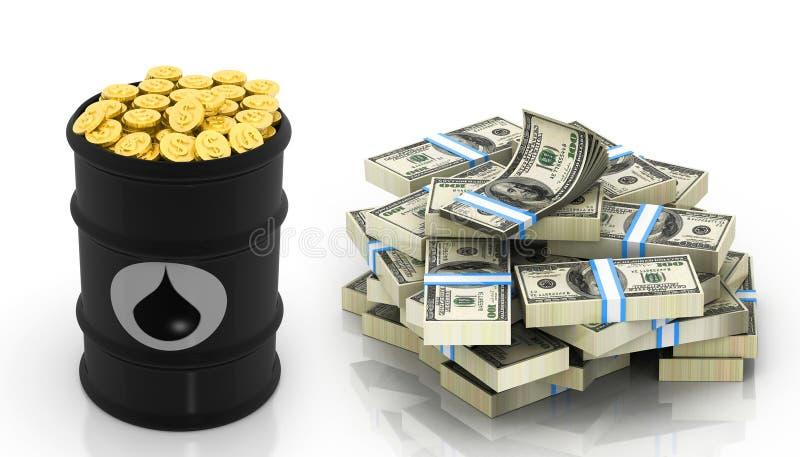 Ölbarrel mit Dollaranmerkungen und Goldmünzen stock abbildung