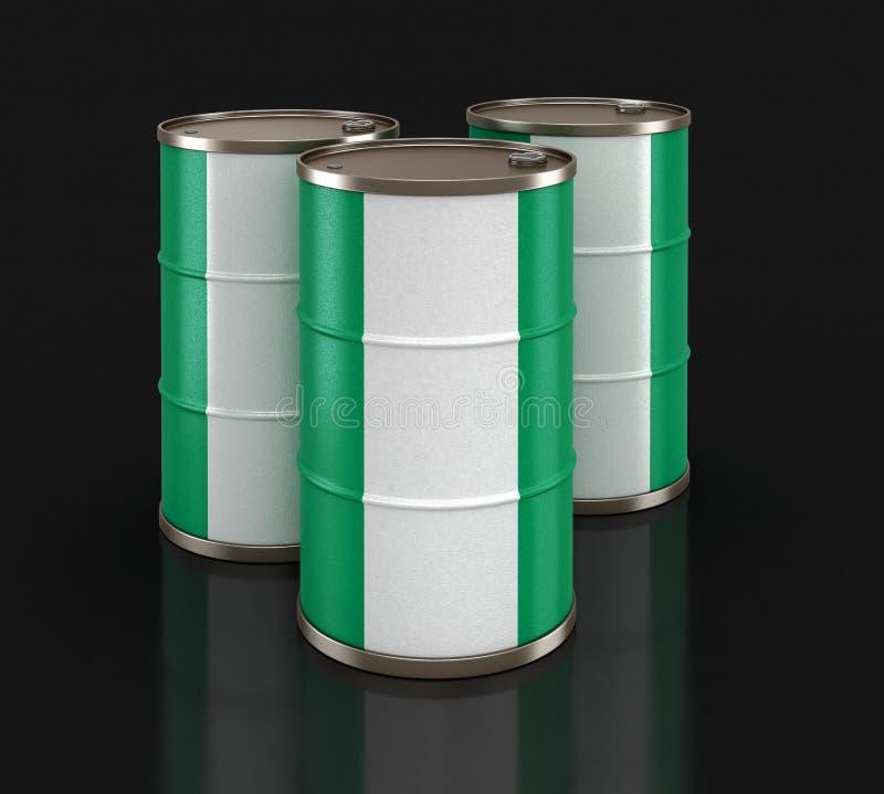 Ölbarrel mit Flagge von Nigeria vektor abbildung