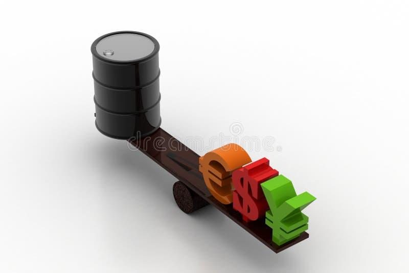 Ölbarrel mit Währungszeichen vektor abbildung
