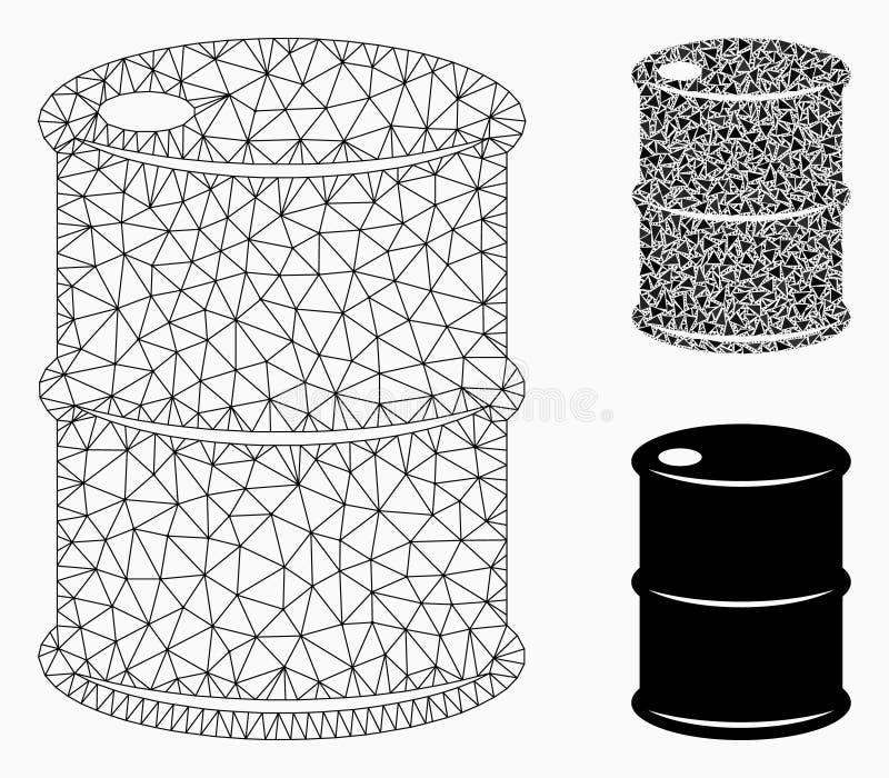 Ölbarrel-Vektor Mesh Wire Frame Model und Dreieck-Mosaik-Ikone vektor abbildung