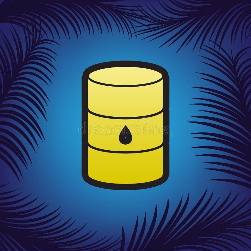 Ölbarrelzeichen Vektor Goldene Ikone mit schwarzer Kontur am Blau lizenzfreie abbildung
