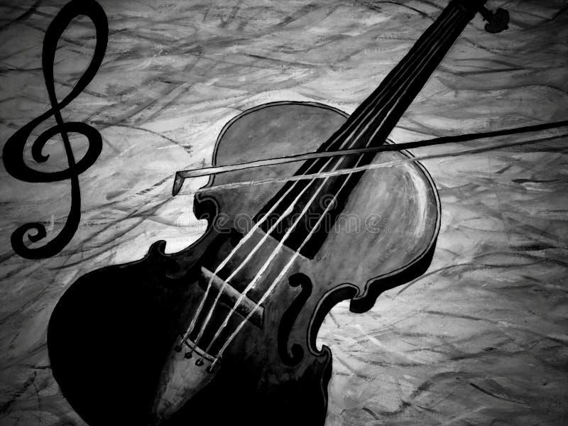 Ölen Sie das Keuchen einer Violine, die in Schwarzweiss spielt stock abbildung