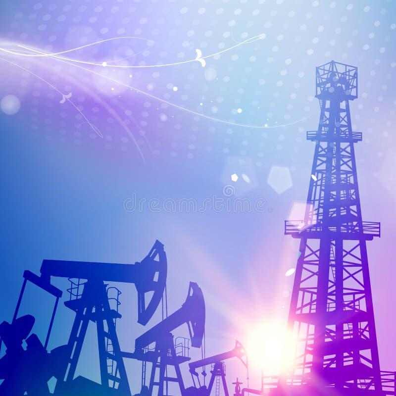 Ölen Sie Turm mit Derrickkran auf Wissenschaftsblauhintergrund lizenzfreie abbildung