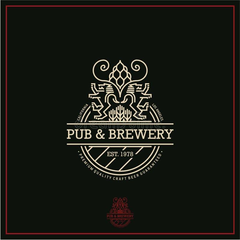 Öletikett, linje öllogo, bar och bryggeri vektor illustrationer