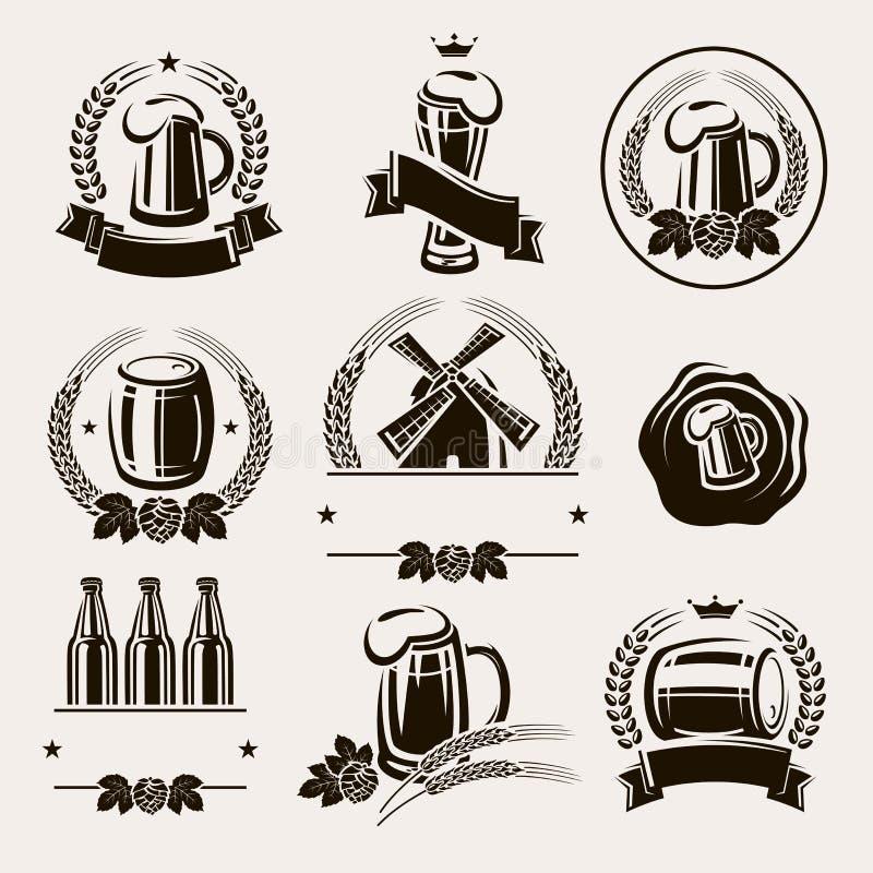 Öletikettuppsättning. Vektor royaltyfri illustrationer