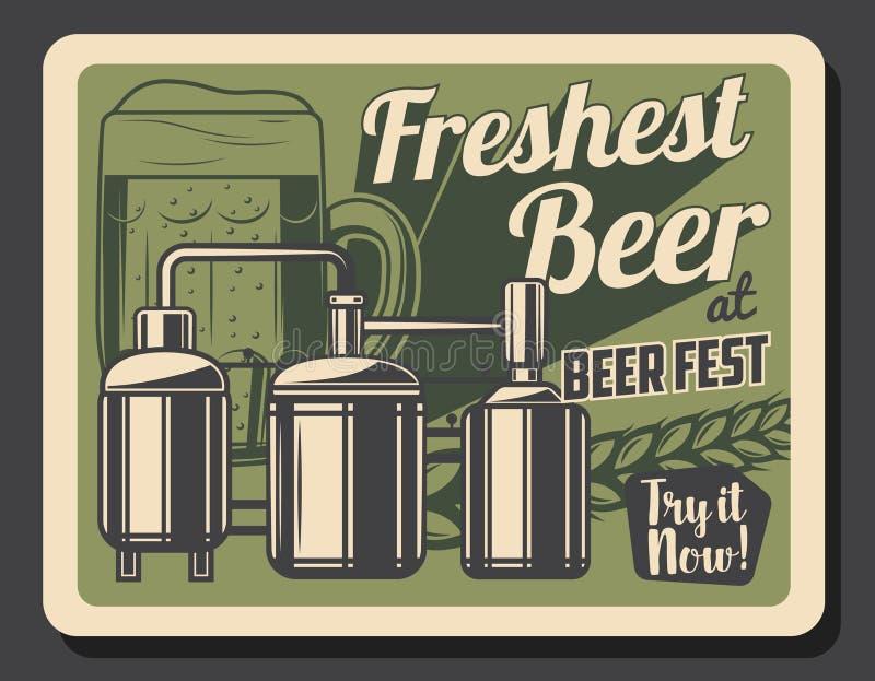 Ölexponeringsglas, bryggeritrumma, behållare och kagge stock illustrationer