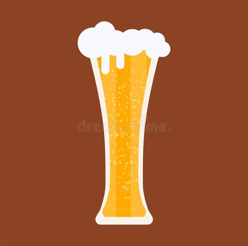 Ölexponeringsglas rånar dryckstångbaren Bakgrund för bryggeri för vektordrinkalkohol Symbol för gult öl för tappning grafiskt Mat vektor illustrationer