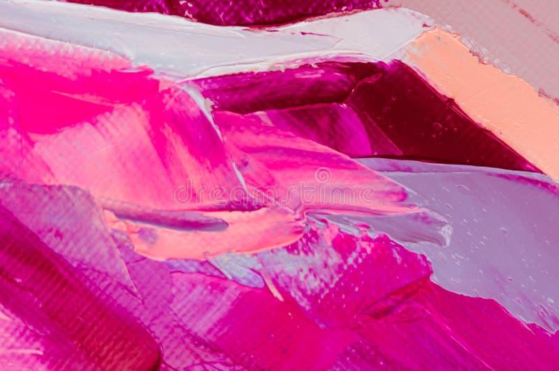 Ölfarbe auf Segeltuch wird durch Palettenmesser geschrieben Nahaufnahme einer Malerei vom Öl- und Palettenmesser auf Segeltuch stockfotografie