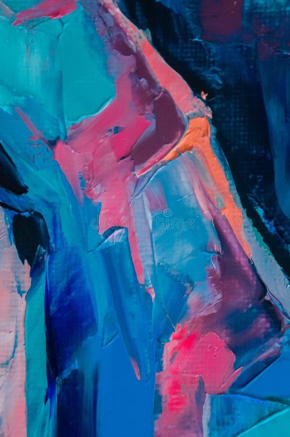 Ölfarbe auf Segeltuch wird durch Palettenmesser geschrieben Nahaufnahme einer Malerei vom Öl- und Palettenmesser auf Segeltuch stockfoto