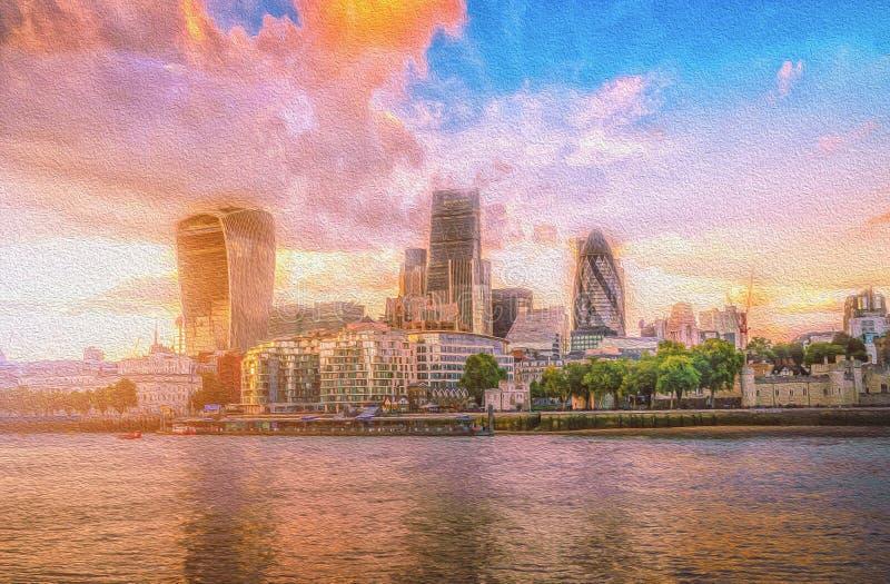 Ölfarbebild von Wolkenkratzern der Stadt von London über der Themse bei Sonnenuntergang stockbilder