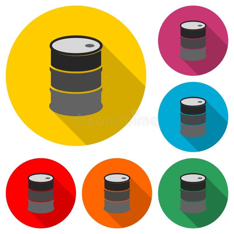 Ölfassbehälter, flache Ikone des Fasses oder Logo, Farbsatz mit langem Schatten stock abbildung