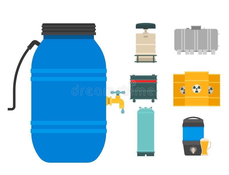 Ölfassbehälterbrennstofftonnespeicher rudert Schiffvektor der natürlichen Därme der Stahlfasskapazitätsbehälter chemischen Metall lizenzfreie abbildung