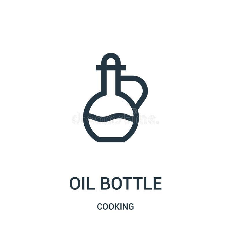 Ölflaschen-Ikonenvektor vom Kochen der Sammlung Dünne Linie Ölflaschen-Entwurfsikonen-Vektorillustration Lineares Symbol vektor abbildung
