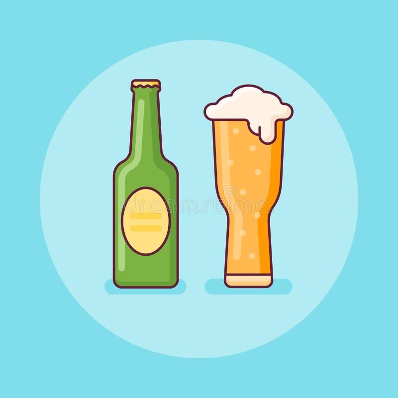 Ölflaska- och exponeringsglaslägenhetlinje symbol också vektor för coreldrawillustration stock illustrationer