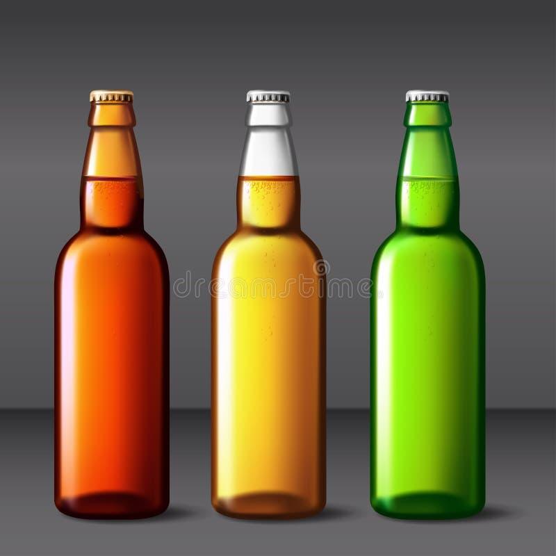 Ölflaskaexponeringsglas Förpackande modell för vektor med den realistiska flaskan vektor illustrationer