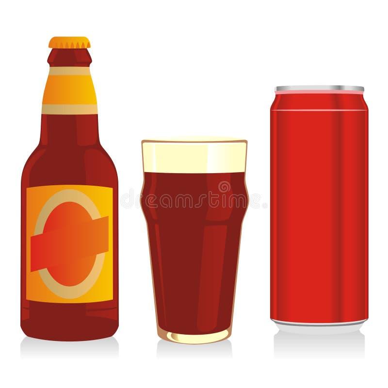 ölflaskan kan exponeringsglas isolerad red royaltyfri illustrationer